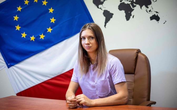 Kristsina Tsimanovskaja Varssavis intervjuud andmas