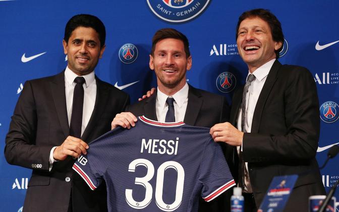 Lionel Messi esimesel ametlikul konverentsil PSG särki esitlemas