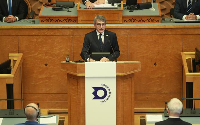 European Parliament President David Sassoli speaking at the August 20 Club meeting in the Riigikogu on August 20, 2021.