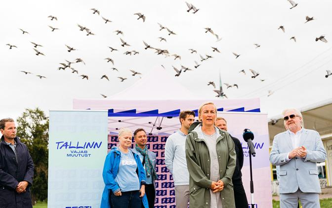 Eesti 200 party chairwoman Kristina Kallas making a speech at a party event in Tallinn recently.