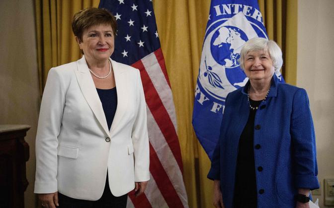 Rahvusvahelise Vallutafondi (IMF) tegevdirektor Kristalina Georgieva (vasakul) ja USA rahandusminister Janet Yellen.