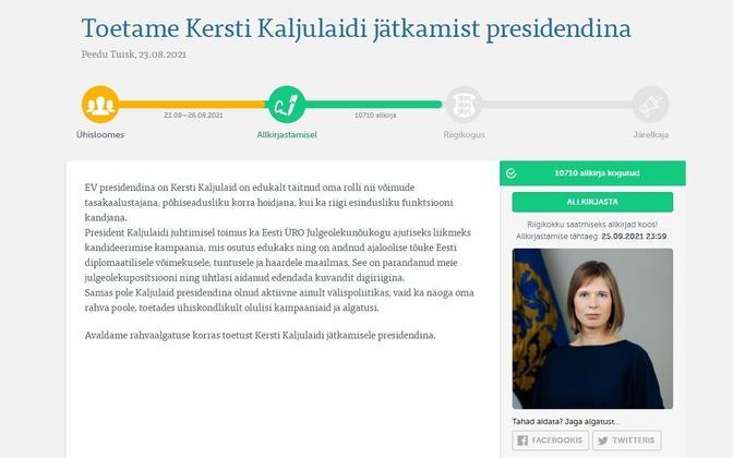 Kersti Kaljulaidi toetusaktsioon rahvaalgatus.ee veebilehel.