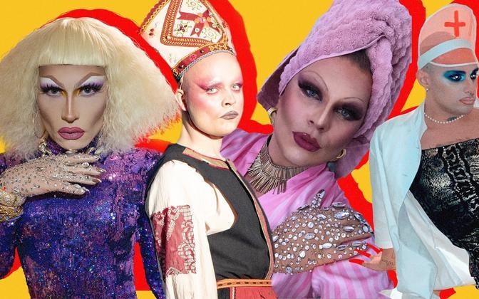 Eesti esimese drag brunch'i esinejad. Vasakult: Nordica, Helgi Saldo, Vilita, Chloé Lagucci.