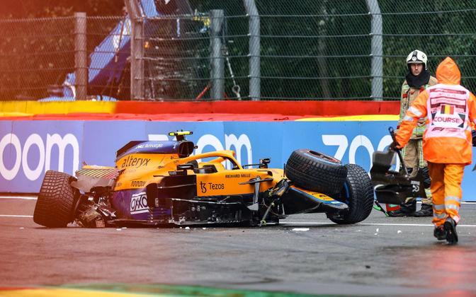 Lando Norris tegi Belgia GP kvalifikatsioonis raske avarii, kuid pääses vigastusteta.