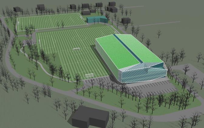 FC Levadia Maarjamäe jalgpallihalli eskiis, millest klubi on valmis loobuma.