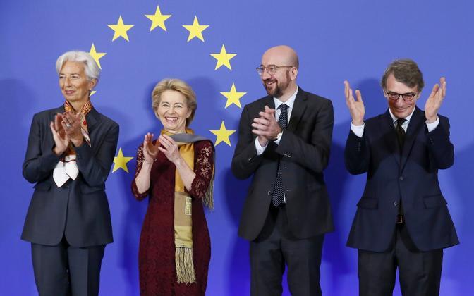 Euroopa Keskpanga president Christine Lagarde (vasakult alates), Euroopa Komisjoni president Ursula von der Leyen, Euroopa Ülemkogu alaline eesistuja Charles Michel ja Euroopa Parlamendi president David Sassoli.