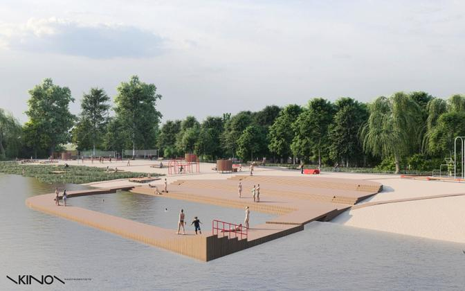 A design of the city swimming pool on the left bank of the Emajõgi river in Tartu near Lodjakoja.
