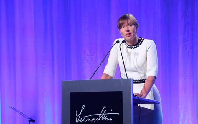 Kersti Kaljulaid speaking at this year's Lennart Meri Conference, in Tallinn.