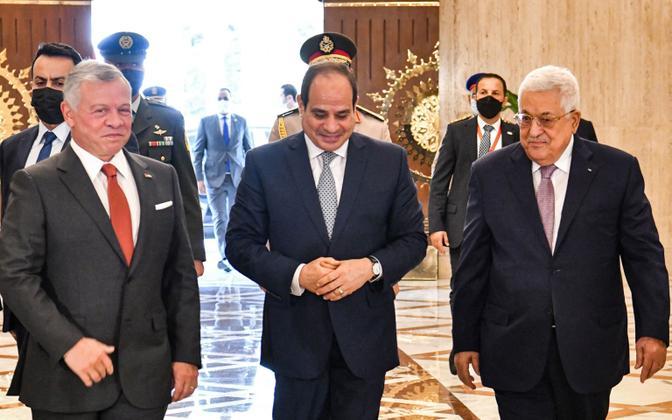 Abdullah II, Abdel Fattah al-Sisi ja Mahmoud Abbas 2. septembril Kairos.