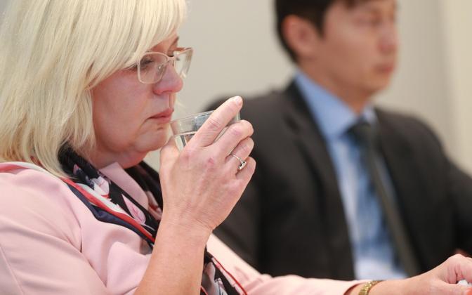 Tallinn deputy mayor Eha Võrk, appearing at Wednesday's press conference with the capital's mayor, Mihhail Kõlvart.