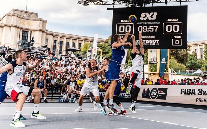 Eesti 3x3 koondis veerandfinaalmängus Venemaa vastu.