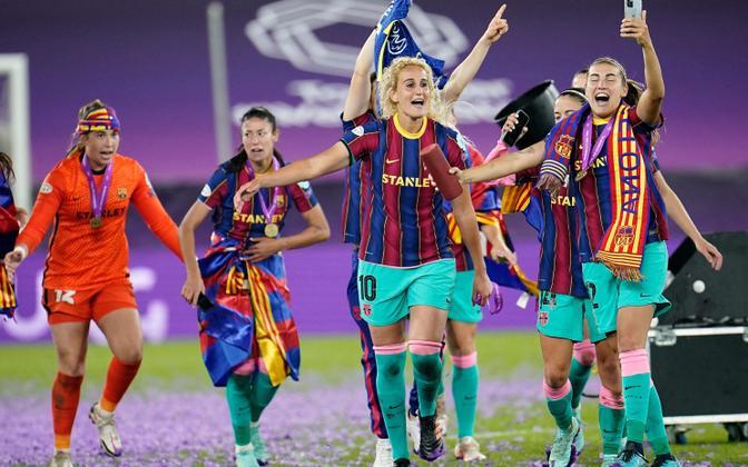 Barcelona naiskond tähistamas Meistrite liiga võitu