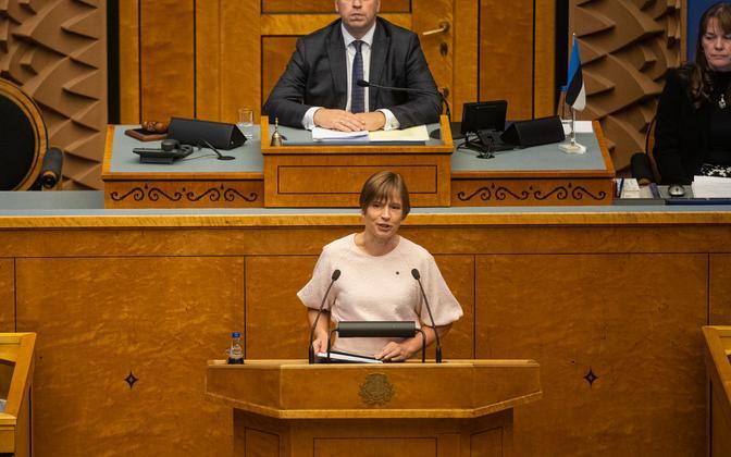 President Kersti Kaljulaid riigikogu sügisistungjärgu avaistungil kõnelemas