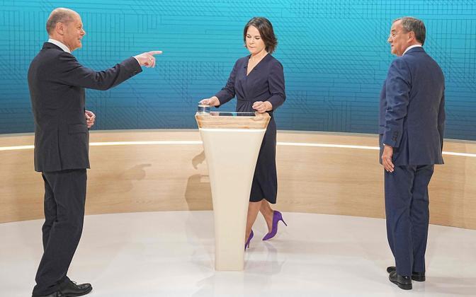Saksamaa kolm võimalikku järgmist kantslerikandidaati: sotsiaaldemokraat Olaf Scholz (vasakul), Annalena Baerbock (Rohelised) ja Armin Laschet (CDU) teledebati eel.