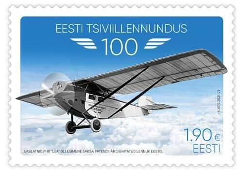 Марка, посвященная началу гражданской авиации в Эстонии.