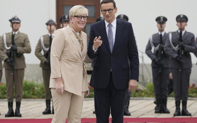 Leedu peaminister Ingrida Simonyte ja Poola peaminister Mateusz Morawiecki Varssavis.