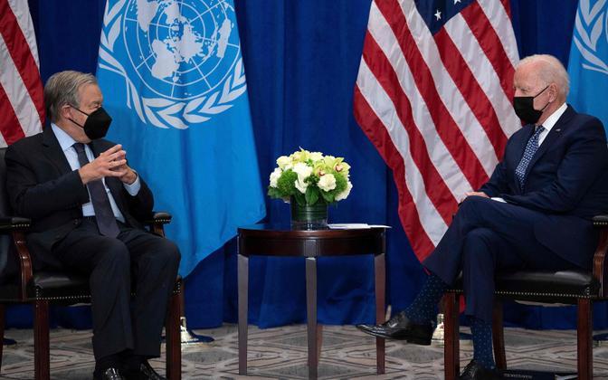 USA president Joe Biden (paremal) ja ÜRO peasekretär Antonio Guterres.