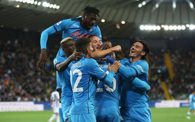 Napoli mängijatel on põhjust rõõmustada, sest kapten Amir Rrahmani viis nad just Udinese vastu 2:0 juhtima.