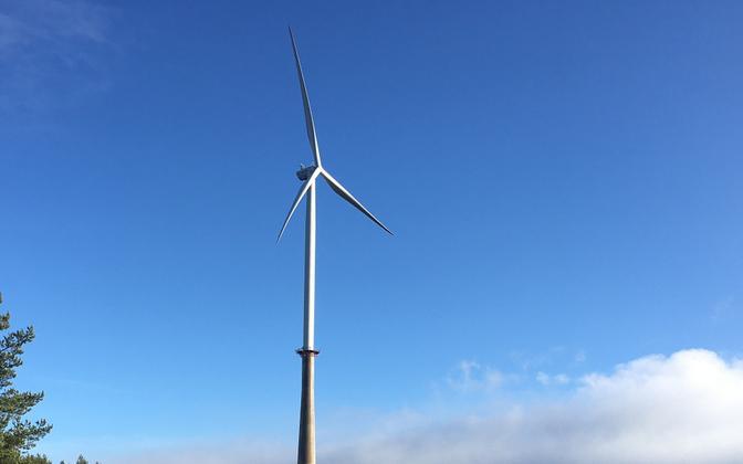 Wind turbine at Aidu Wind Park in Ida-Viru county.