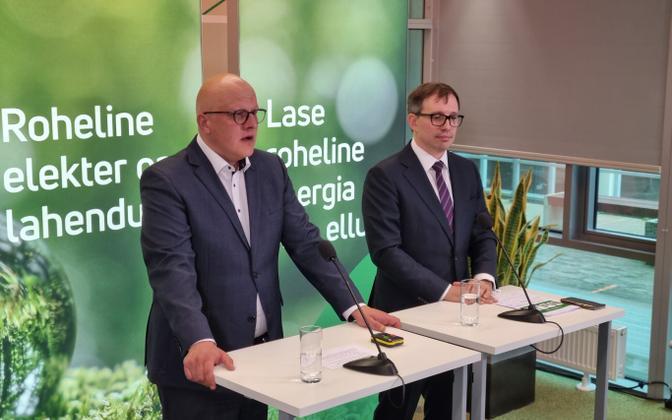 Aavo Kärmas ja Veiko Räim Enefit Green pressikonverentsil.