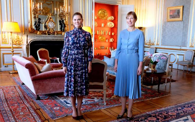 President Kersti Kaljulaid (right) with Victoria, Crown Princess of Sweden, in Stockholm on Monday, September 27.