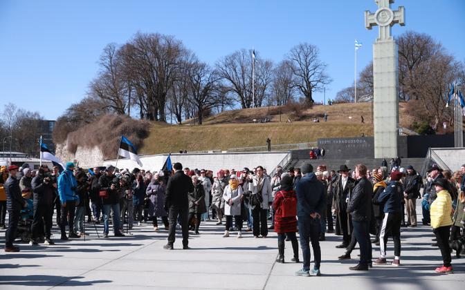 Meeleavaldus tänavu aprillis Tallinnas Vabaduse väljakul.