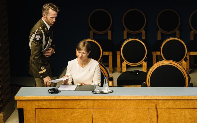 President Kersti Kaljulaid riigikogus.