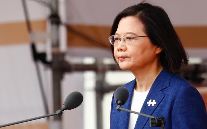 Taiwani president Tsai Ing-wen pühapäeval esinemas.