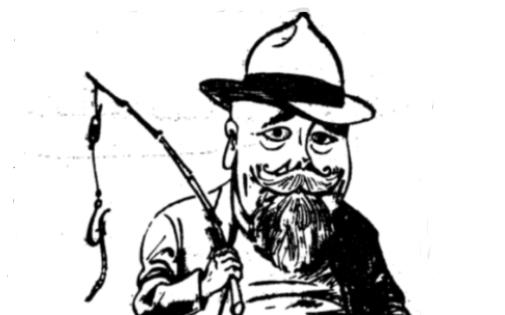 Karikatuur Karl August Hindrey'st 1942. aastal Otepää Teatajast
