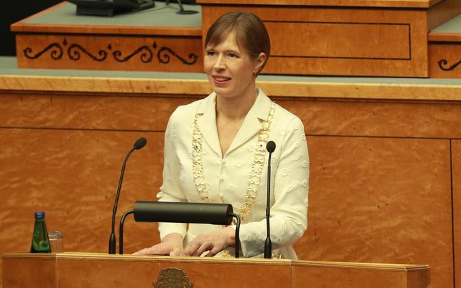 Kersti Kaljulaid speaking in the Riigikogu on October 11, 2021.