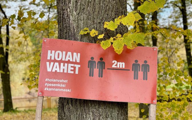 A social distancing sign in Tartu.