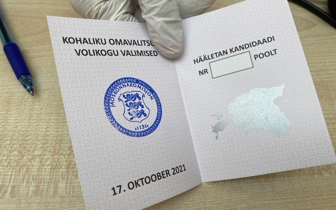 A blank local election ballot in Paide