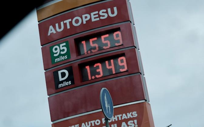 Fuel prices at a Tallinn filling station on October 12 2021.