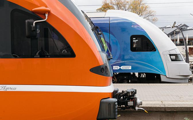 Trains at the Baltjaam train station. Estonia plans to purchase additional electric trains for using its CO2 quota revenue.