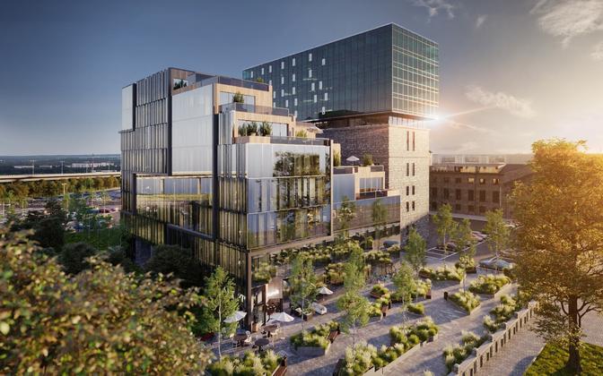 Проект городской площади и офисного здания у Тартуского шоссе в Таллинне.